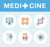 Set of flat science icons. Vector icons on medicine science in flat style Royalty Free Stock Photos