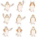 Set of flat screech-owl icons Royalty Free Stock Photo