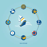 Set of flat sea icons. Set of flat icons on blue background sea theme Stock Image