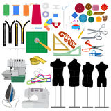 Set of flat sewing elements Stock Photography