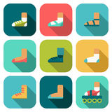 Set of flat shoes icons with shadow Royalty Free Stock Photography