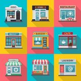 Set of flat shop building facades icons. Vector illustration for local market store house design. Shop facade building, street front commercial market vector illustration