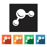 Set of flat simple icons (molecule, physics, chemistry),  Royalty Free Stock Photo