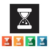 Set of flat simple icons (time, hourglass, clock),. Set of flat simple colored icons (time, watch-glass, sand-glass, hourglass, date, clock), illustration Stock Illustration