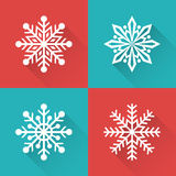 Set of flat simple winter snowflakes . Vector illustration. Stock Photography