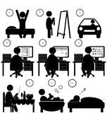 Set of flat situation icons with lazy worker isolated on white. Background Stock Photo
