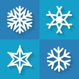 Set of flat snowflakes icons, vector illustration. Set of snowflakes iconsin flat style, vector illustration Stock Photography