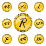 Set with Flat South African Currency Symbols Royalty Free Stock Photo