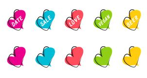 A set of flat speech bubble banners, price tags, stickers, badges in the form of hearts. Royalty Free Stock Photography