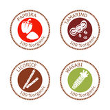 Set of flat spices stamp labels. 100 organic. collection. Set of herbs labels. 100 organic. Spice collection. Vector illustration. . Brown stamps. flat style Stock Photo