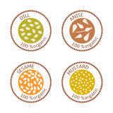 Set of flat spices stamp labels. 100 organic. collection. Set of herbs labels. 100 organic. Spice collection. Vector illustration. . Brown stamps. flat style Stock Illustration