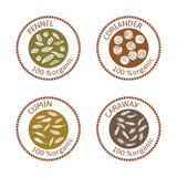 Set of flat spices stamp labels. 100 organic. collection. Set of herbs labels. 100 organic. Spice collection. Vector illustration. . Brown stamps. flat style Royalty Free Stock Photos