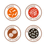 Set of flat spices stamp labels. 100 organic. collection. Set of herbs labels. 100 organic. Spice collection. Vector illustration. . Brown stamps. flat style Stock Photography