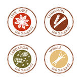 Set of flat spices stamp labels. 100 organic. collection. Set of herbs labels. 100 organic. Spice collection. Vector illustration. Vanilla flower and pods Stock Photo
