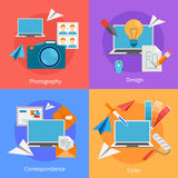 Set Of Flat Square Design Concept Icons. For correspondence and  photography services  vector illustration Stock Photography