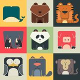Set flat square icons of a cute animals Royalty Free Stock Photography