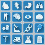 A set of flat square icons on medical subjects. Blue and gray color trendy design. Royalty Free Stock Image
