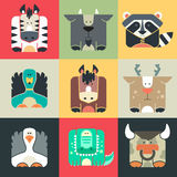 Set Flat Square Icons Of A Cute Animals Stock Photos