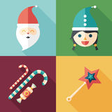 Set of flat square icons. Santa. Snow Maiden. Candy. Magic wand. Stock Photography