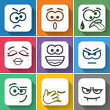Set Flat Square Smiles with Rounded Corners Royalty Free Stock Images