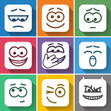 Set Flat Square Smiles with Rounded Corners Stock Photos