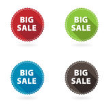 Set of 4 flat star buttons. Big sale Royalty Free Stock Image