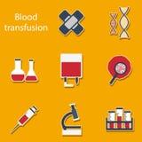 Set of flat stickers on blood transfusion theme Stock Photos