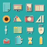 Set of flat stickers on freelance workflow theme Royalty Free Stock Image