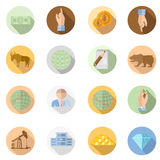 Set flat stock exchange icons with long shadow on circle background Royalty Free Stock Images