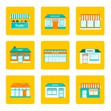 Set of flat store building icons Stock Photography