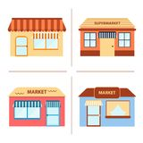 Set of flat store building icons Royalty Free Stock Photos