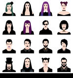 Set in a flat style avatars male and female goths Stock Images