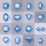Set of flat style blue jewels. Stock Photography