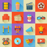 Set of flat style cinema icons. A detailed set of flat style cinema icons for web and design with movie symbols, 3D glasses, film reel, popcorn, tickets, web Royalty Free Stock Photography