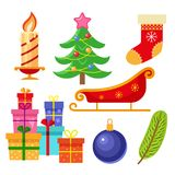 Set of flat style colorful Christmas icons Royalty Free Stock Photo