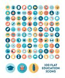 Set of 100 flat style education icons Stock Image