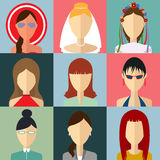 Set of flat style female characters Royalty Free Stock Photography