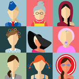 Set of flat style female characters Royalty Free Stock Photos