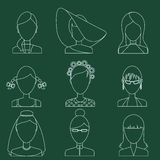 Set of flat style female characters Stock Photos