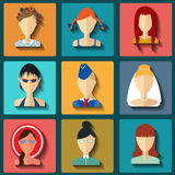 Set of flat style female characters Royalty Free Stock Photo
