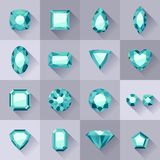 Set of flat style green jewels. Stock Images