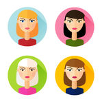 Set of flat style icons girls hair styles Stock Images
