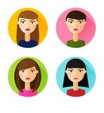 Set of flat style icons girls hair styles Stock Photography