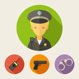 Set of flat style icons. Policeman, radio set, gun, handcuffs Stock Photo