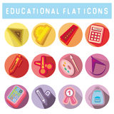 Set of flat style icons with school supplies Royalty Free Stock Photography