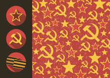 Set of flat style icons of Soviet Union signs seamless pattern. Stock Photos