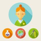 Set of flat style icons. Teacher, bulb, globe, divider, ruler Stock Image