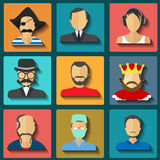 Set of flat style male characters Stock Photography