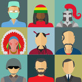 Set of flat style male characters Royalty Free Stock Images