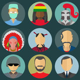 Set of flat style male characters Stock Image